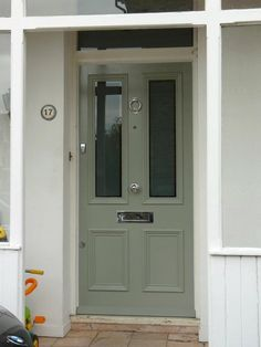 Front Door Colors Farrow And Ball Pigeon 32 Ideas Victorian Front Doors, Grey Front Doors, Beautiful Front Doors, Painted Front Doors, Front Door Colors, Back Doors, Door Paint Colors, Exterior Paint Colors, House Front Door