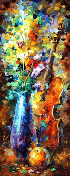 Flowers And Violin  Palette Knife Floral Still Life Oil