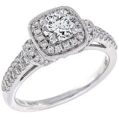 Preowned Charming Vera Wang Diamond White Gold Engagement Ring (119 190 UAH) ❤ liked on Polyvore featuring jewelry, rings, white, pre owned engagement rings, vera wang rings, round engagement rings, round cut diamond rings and white gold engagement rings