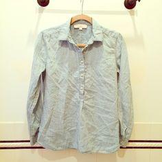 LOFT Pullover Chambray half button down Pullover, half button down, patterned, chambray blouse. Chambray with white pattern. LOFT Tops Button Down Shirts