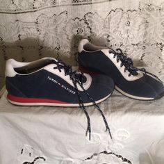 RW&B suede Tommy Hilfiger tennis shoes Excellent condition women's casual shoes. Blue suede with white leather and touches of red. No wear on soles. Price firm. Tommy Hilfiger Shoes Sneakers