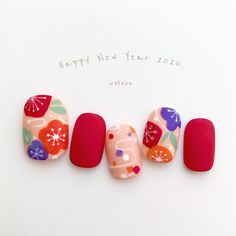 Happy New Year 2020 ・ Original nail designs ・ Have a good year for everyone ・ gel → . New Year's Nails, Red Nails, Pastel Nails, Bling Nails, Cute Nails, Pretty Nails, Tammy Nails, Collection Mac, Makeup Collection