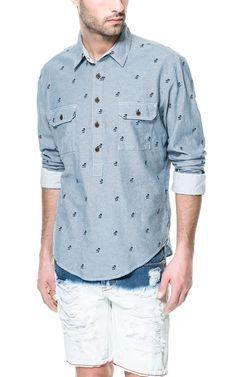 OXFORD SHIRT WITH PALM TREES - Shirts - Man | ZARA United States $40