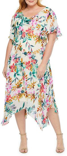 Robbie Bee Short Sleeve Floral Shift Dress-Plus, Color: White Multi - JCPenney Silk Slip, Nordstrom Dresses, Chiffon Dress, Sleeve Styles, Dresses Online, Sweaters For Women, Summer Dresses, Floral, Peter Pilotto