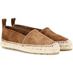 Balenciaga Suede Espadrilles (1.905 BRL) ❤ liked on Polyvore featuring shoes, sandals, brown, light brown suede shoes, suede espadrilles, balenciaga, suede leather shoes and espadrille sandals