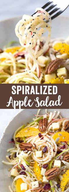 Spiralized Apple Salad with Citrus Dressing - Healthy and refreshing recipe made in only 15 minutes! Topped with oranges, pecans, cheddar cheese, cranberries, sunflower and chia seeds. via @foodiegavin