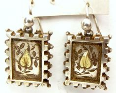 Victorian Silver & Gold EARRINGS Ear Pendants from m4gso on Ruby Lane