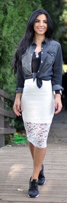 White Lace Hem Pencil Midi Skirt by Duygu Senyurek