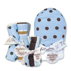 """$43.95-$41.95 Baby Max Blooming Bouquet 3 Pc Set includes 1 hooded towel, a 5 pack of wash cloths, and a 4 pack of burp cloths. Fun modern prints on one side, terry on the other-hooded towel size 32"""" x 30"""", wash cloth size 8"""" x 8"""", burp cloth size 13"""" x 10""""."""