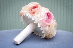 Pale Pink Bouquet Bridal Fabric Bouquet Bridal by gemmaroses