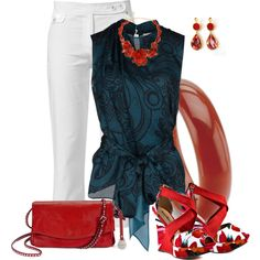 Red Floral Wedges, created by fantasy-closet on Polyvore