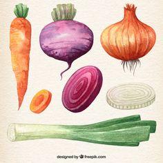 Aquarell Gemüse Sammlung Kostenlose Vektoren