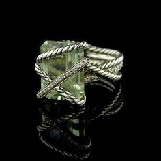 Love the details in this David Yurman sterling silver prasiolite and diamond cable wrap ring!