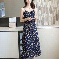 2017 여름 새로운 여성 여성 작은 꽃 무늬 민소매 캐미솔 드레스 코튼 스커트 탄성 허리 긴 섹션 드레스