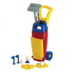 This fun golf set makes practice time into fun time for your favorite future golfer.