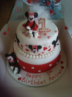 2 tiered Mickey and Minnie Mouse cake
