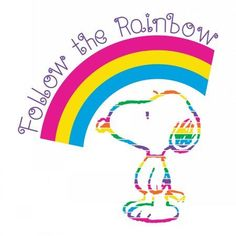 Marmont Hill Follow the Rainbow Peanuts Print on Canvas, Size: 24 inch x 24 inch, Multicolor