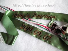 Wedding ribbon in military colors, with embroidered rifles, … – Wedding Dresses Wedding Accessories, Ribbon, Military, Personalized Items, Rifles, Wedding Dresses, Colors, Tape, Bride Dresses