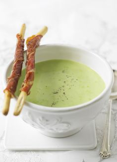 Pea soup with Parma ham croutons: Try our best creamy pea soup with petits pois, tarragon and parsley. Serve with posh croutons: bread sticks wrapped with parma ham.