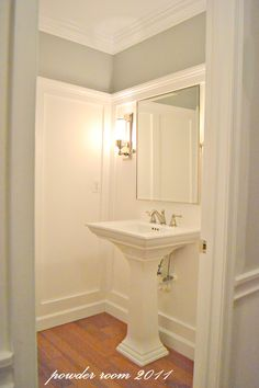 Powder Room Pedestal Sink Design, Pictures, Remodel, Decor and Ideas - page 10 Bathroom Mirrors Diy, Small Bathroom, Bathroom Ideas, Bath Ideas, Downstairs Bathroom, Bathroom Colors, Mirror Walls, Bathroom Paneling, Upstairs Hallway