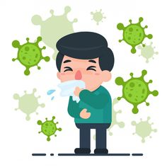 Vector Cartoon Male Ill With Flu And Germs Virus Around Health Care Concept Vector and PNG Human Clipart, Human Vector, Illustration Plate, Medical Illustration, Doctor Vector, Adobe Illustrator, Hand Washing Poster, Drawing Competition, Human Icon