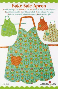 Sale- Apron Pattern Mom & Me, Bake Sale Apron 191BAKE Cabbage Rose, Adult Apron Pattern, Childs Apron Pattern, Reversible Full Apron Pattern