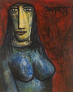 Summer Art Auction - F.N. Souza, Portrait of a Greek Girl, 1957