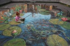 Really !! How?? Chalk art...amazing!! (Little girl fishing)