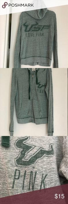 Victoria Secret USF Zip Up Hoodie Jacket. Victoria's Secret University of South Florida lightweight zip up hoodie. Size extra small. Gently used. No stains and no rips. PINK Victoria's Secret Jackets & Coats