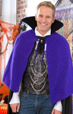 A Vampire doesn't have a reflection. But this Vampire Cape made with Red Heart Reflective Yarn will reflect on his whimsy!