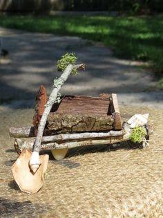 The Fairy Wheelbarrow --- HiHo HiHo Its Off to Work We Go | faerienest - Dolls & Miniatures on ArtFire