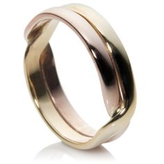 9ct Rose And Yellow Welsh Gold Wedding Ring In A Lovers Kiss Design