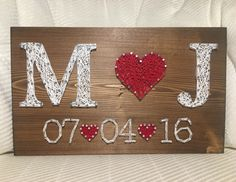 Wedding/Anniversary String Art Sign, Date Art, Wall decor, Personalized gift for. Wedding Anniversary String Art- order from KiwiStrings on Etsy! Anniversaire de mariage/String Art signe Date de lArt Say as a result of the best m Wedding Anniversary Gifts, Wedding Gifts, Trendy Wedding, Wedding Ideas, Wedding Wishes, Wedding Pictures, Wedding Decorations, String Art Diy, Wedding String Art