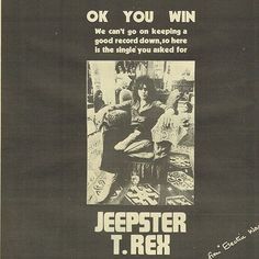November 6th 1971 NME Trade advert for Jeepster / Life's A Gas  The single stayed on the UK charts for 15 whole weeks making its entry at number 37 before rising to its highest chart position of No 2 where it was situated for 5 weeks ! Below Trade advert New Musical Express November 6th 1971 Uk Charts, Marc Bolan, Glam Rock, Musicals, Songs, Basement, Mens Tops, November, Life
