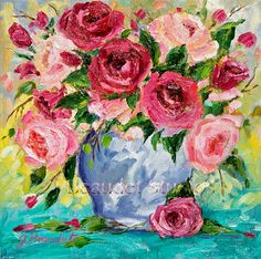Original oil #painting Pink #Roses floral by JBeaudetStudios on Etsy