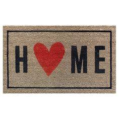 """Home With Heart Typography Doormat - (1'6""""x2'6"""") - Room Essentials, Ebony"""