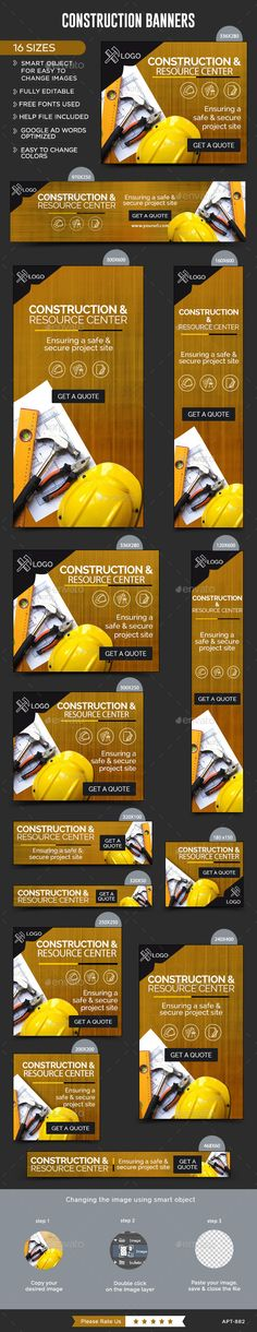 Construction Web Banners Template Buy Now… Web Banner Design, Web Banners, Social Design, Google Banner, Facebook Banner, Event Banner, Display Ads, Banner Template, Web Design Inspiration
