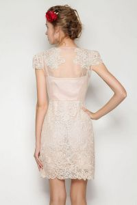 Apricot Short Sleeve Scallop Lace Bodycon Dress