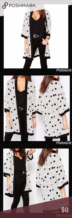 """💞POLKA DOT CHIFFON KIMONO💞 🌸🌸BRAND NEW POLKA DOT CIFFON KIMONO. BLACK AND WHITE. 3/4 SLEEVES. SIZE IS M/L, BUT COULD ALSO FIT SMALL. BUST 44"""". SLEEVES 18.5"""". LENGTH 40"""". MATERIAL - CHIFFON AND POLYESTER.🌸🌸 Twilight Gypsy Collective Tops"""