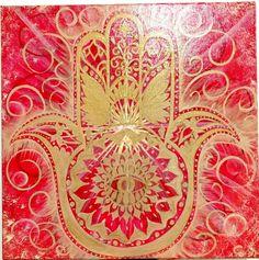 Hamsa painting by Suzanne Rivard 12 x12 acrylic on canvas www.suxannart.com #hamsa #mandala #geometry #red #sacred Hamsa Painting, Sacred Geometry, Mandala, Canvas, Home Decor, Tela, Decoration Home, Room Decor, Canvases