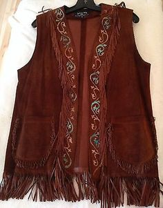 Patricia Wolf Leather Vest Long Cowgirl Turquoise Fringe Brown SM