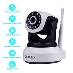 Security Camera System Wireless by GT ROAD,Wifi Internet Home Surveillance System camera,Ip/network Camera with 720p HD Video,Motion Detection,Super Night Vision,Two-way Audio(16GB TF Card Included) * Check out the image by visiting the link.