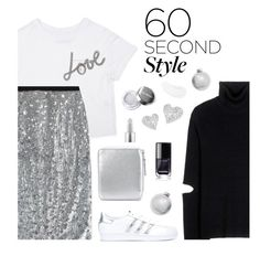 """""""60 Second Style: Silver"""" by shoelover220 ❤ liked on Polyvore featuring Public School, Temptu, Burberry, Lanvin, Bloomingdale's, adidas Originals, Comme des Garçons, MAC Cosmetics, Vivienne Westwood and Silver"""