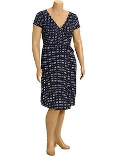 Women's Plus Patterned Wrap-Front Dresses | Old Navy