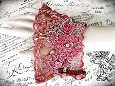 Wine Heirloom Lace Cuff Bracelet - Berry Red Vintage Lace Wrist Cuff, Lace Jewelry, Bridal Jewelry, Victorian Jewelry by LaVieilleLune on Etsy https://www.etsy.com/listing/152206314/wine-heirloom-lace-cuff-bracelet-berry