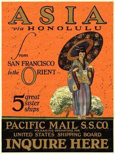 Asia Travel Poster Print Asia via Honolulu from by FoxgloveMedia