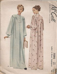 McCall 7095 Misses Nightgown 1947 Vintage Sewing Pattern Size Bust by patternmania on Etsy Vintage Outfits, Vintage Dresses, Europe Fashion, Fashion History, Vintage Dress Patterns, Clothing Patterns, 1940s Fashion, Vintage Fashion, Nightgown Pattern