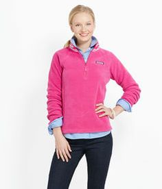 Shop Women's Fleece: Ribbon Neck Fleece 1/4-Zip for Women - Vineyard Vines