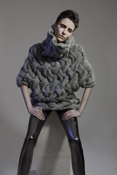 Grey chunky weave textured sweater; contemporary knitwear design // Minty A/W…