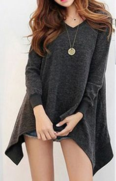 V-Neck Irregular Oversized Long Sweater (More Colors Available) Trendy Road